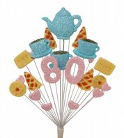 Afternoon tea 80th birthday cake topper decoration in pale blue and pale pink - free postage